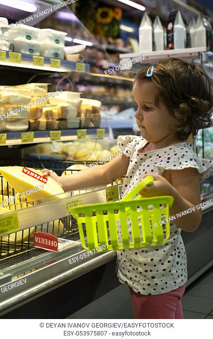 Little girl buying cheese in supermarket. Child hold small basket in supermarket and select cheese from store showcase. Concept for children selecting products...