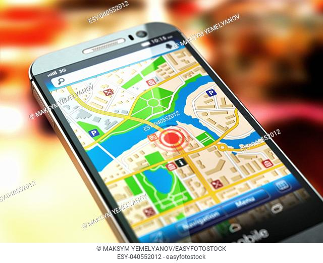 Mobile GPS navigation concept. Smartphone with city map on the screen. 3d