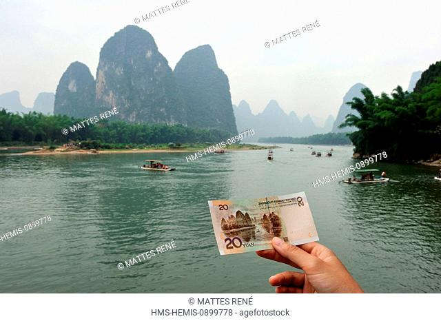 China, Guangxi province, Guilin region, Karst mountain landscape and Li River around Yangshuo, landscape of the 20 yuans banknote