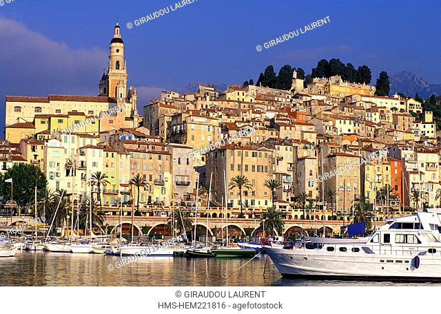 France, Alpes Maritimes, Menton, the town and the harbor