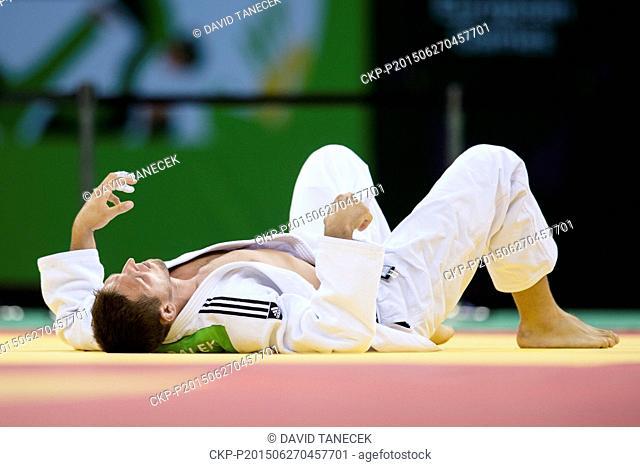 Lukas Krpalek from Czech Republic lies after defeat during the Men's Judo under 100kg final in Heydar Aliyev Arena at the Baku 2015 1st European Games in Baku