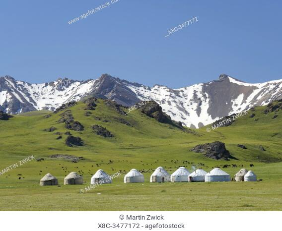 Yurts for tourists at lake Song Kol (Son Kul, Songkoel, Song-Koel). Tien Shan mountains or heavenly mountains in Kirghizia