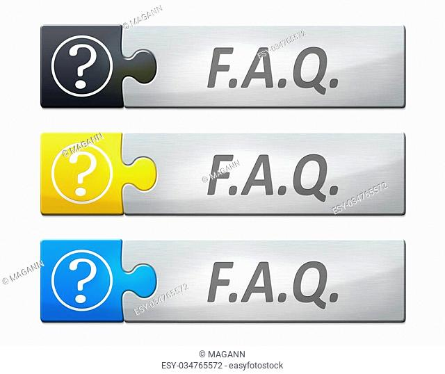 A stylish web banner with text faq