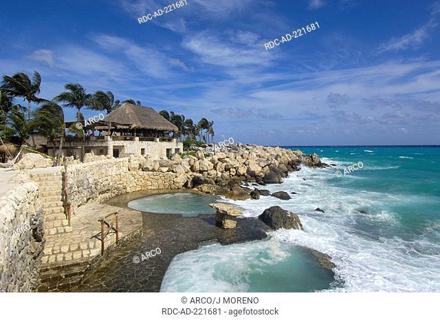 Beach area, Xcaret Ecological Park, near Playa del Carmen, Riviera Maya, Quintana Roo, Yucatan, Mexico