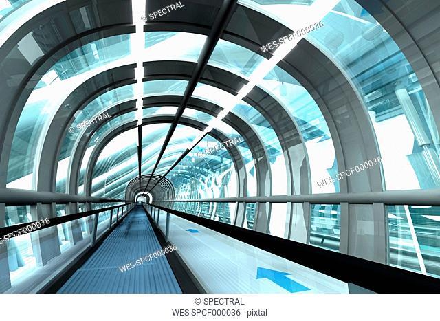 Futuristic passage of railway station, 3D Rendering