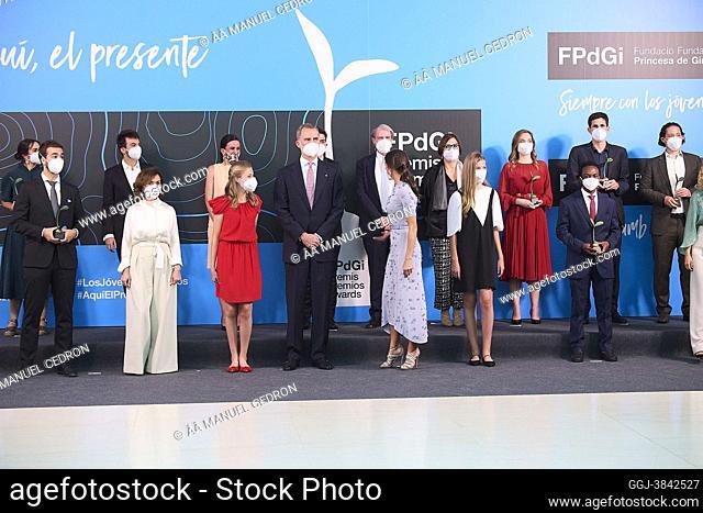 King Felipe VI of Spain, Queen Letizia of Spain, Crown Princess Leonor, Princess Sofia attends Award Ceremony of the '2020 and 2021 Princess of Girona...