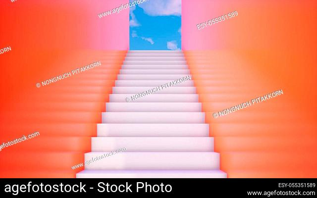 modern orange building with stairs, 3d rendering