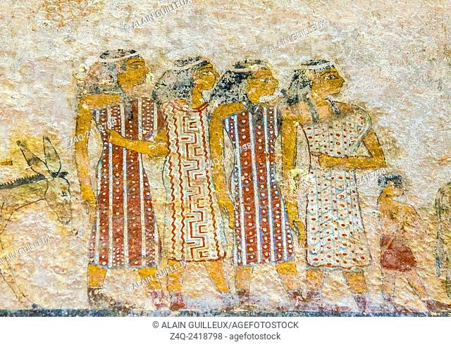 "Middle Egypt, Beni Hasan, the tomb of Khnumhotep II dates from the Middle Kingdom and contains the famous scene called """"arrival of the Hyksos"""""