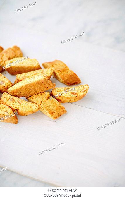 Still life of almond cantucci biscuits