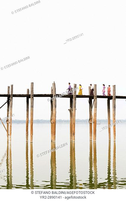 U Bein bridge, Amarapura's Taungmyo lake, Mandalay region, Myanmar