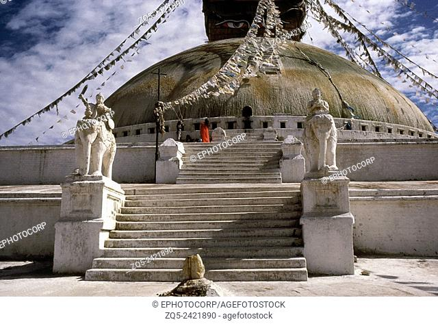 Stairs at the base of the Bodhnath stupa, Nepal