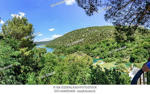 Panoramic View of waterfall in Krka National Park , one of the Croatian national parks in Sibenik, Croatia