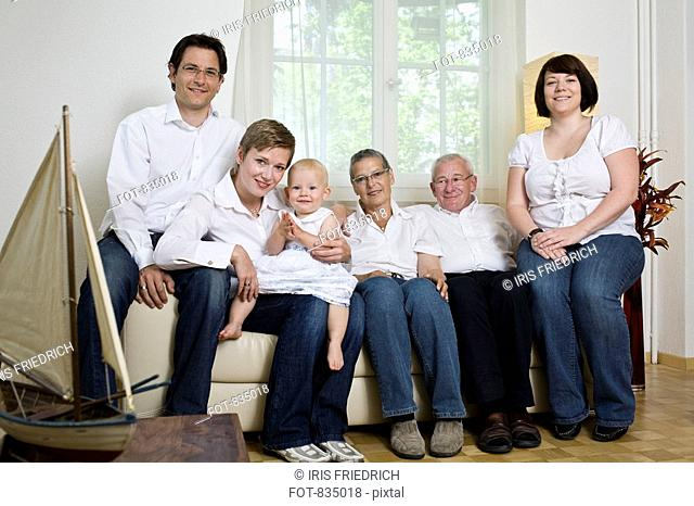 Formal portrait of a multi-generation family