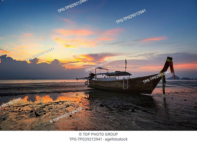 the Longtail boat in the beach; Krabi; Thailand