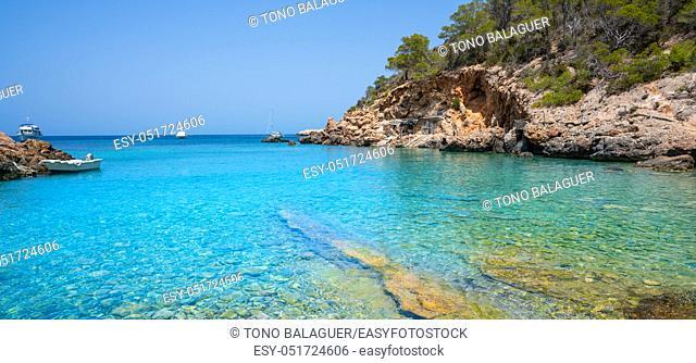 Cala Xuclar beach of Ibiza in Sant Joan of Balearic Islands