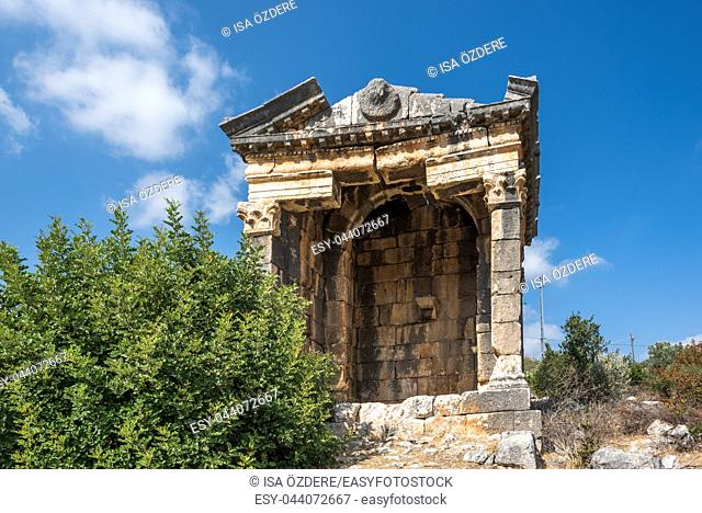 Exterior view of Demircili Monumental tombs located in Demircili Village,Silifke,Mersin,Turkey