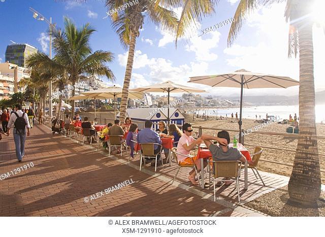 Canteras beach viewed from the promenade. Las Palmas, Gran Canaria, Canary Islands