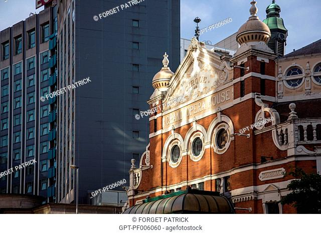 GRAND OPERA HOUSE (CIRCUS, THEATRE) AND EUROPA BUILDING, VICTORIA STREET, BELFAST CITY CENTER, ULSTER, NORTHERN IRELAND