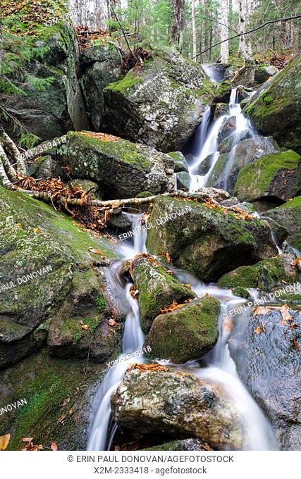 Tributary of Lost River on the northern slopes Mount Waternomee in Kinsman Notch of Woodstock, New Hampshire USA during the autumn months