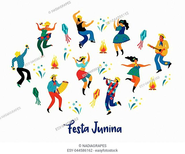 Festa Junina. Vector illustration of funny dancing men and women in bright costumes. Latin American holiday, the June party of Brazil