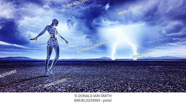 Robot woman watching distant lightning