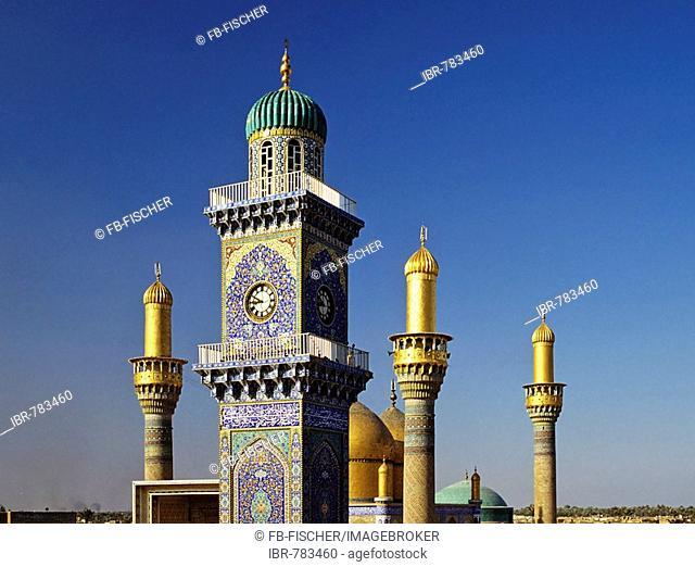 Al Kadhimain Mosque, golden towers, minaret, Baghdad, Iraq, Middle East