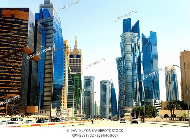 Central Doha, Qatar. Iconic high rise on Majlis Al Taawon St. include Golden Bay Tower, Palm Twin Tower and Islamic Bank Tower