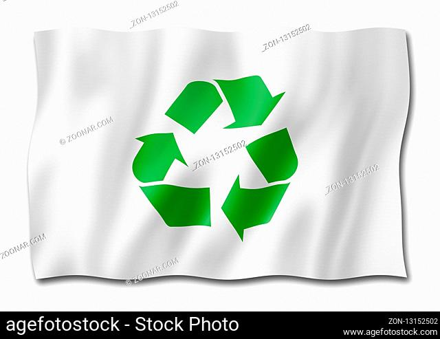 recycling symbol flag, three dimensional render, isolated on white