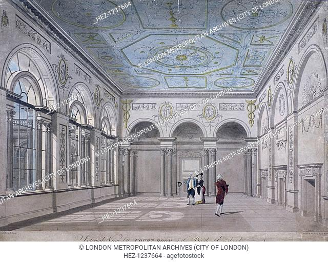 Interior view of the court room at the Bank of England, Threadneedle Street, London, 1790; with figures
