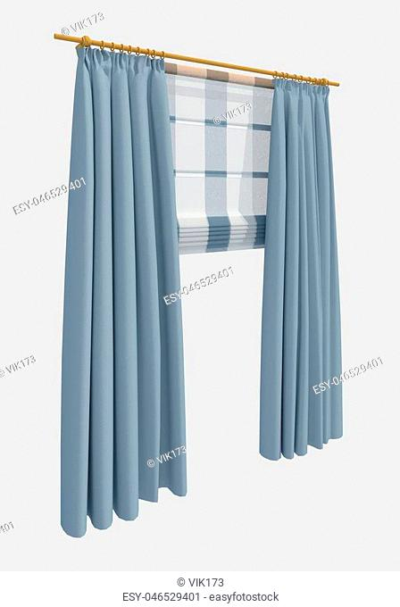 curtains isolated on white background 3d illustration