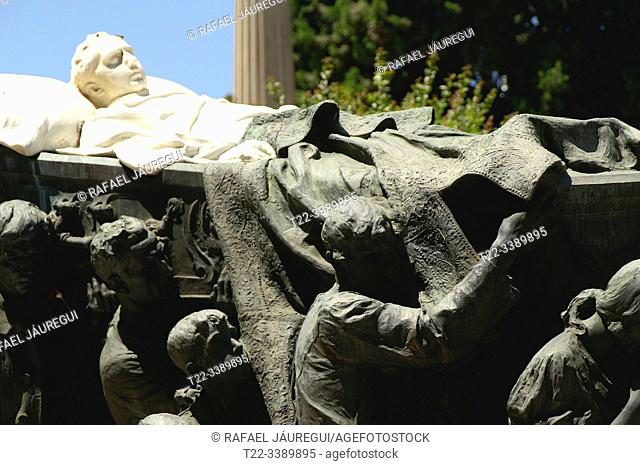 Sevilla (Spain). Close-up of the tomb of the bullfighter Joselito in the cemetery of the city of Seville