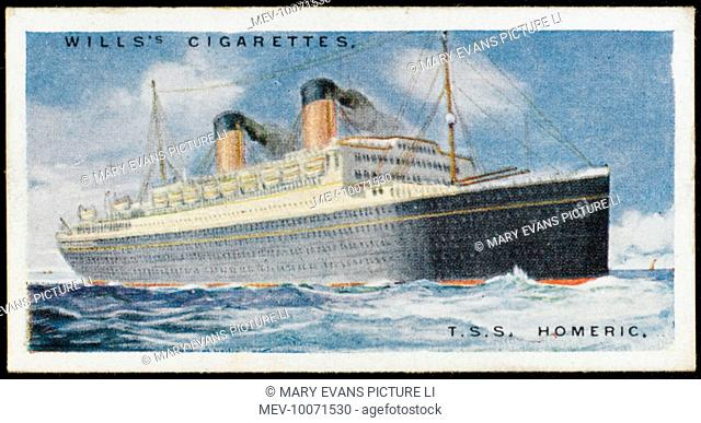 White Star liner on the Atlantic crossing from Southampton via Cherbourg to New York