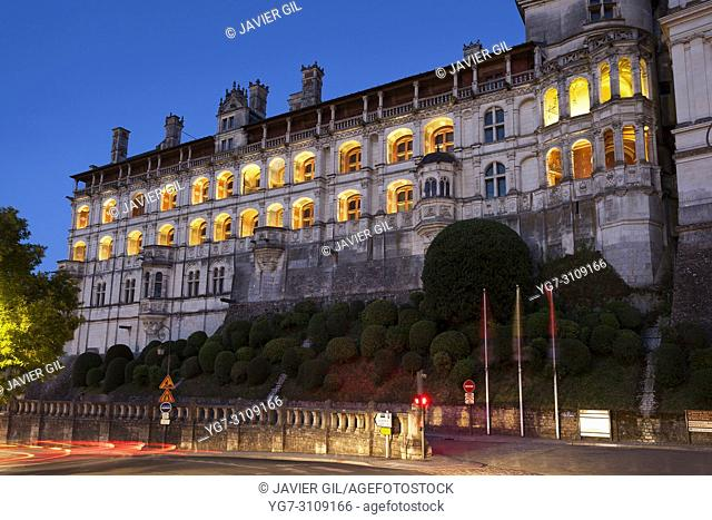 Nightfall in the castle of Blois, Loire valley, France