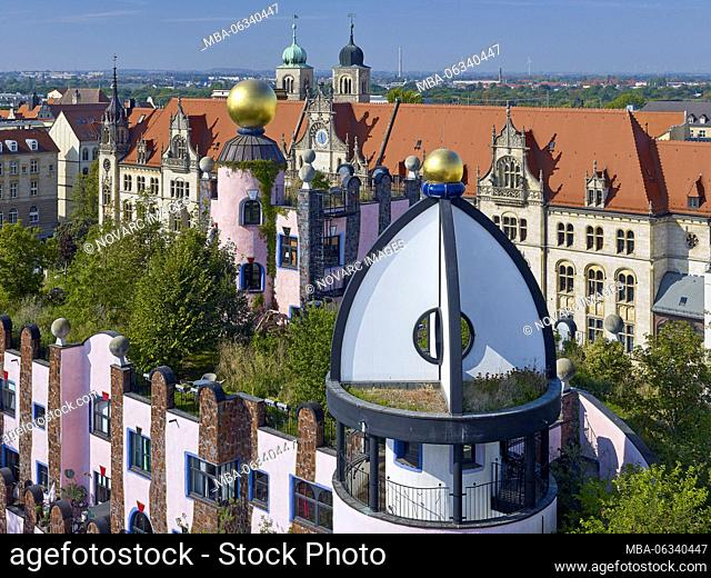 View from the Green Citadel to the Alte Post and Cathedral Sankt Sebastian, Magdeburg, Saxony-Anhalt, Germany
