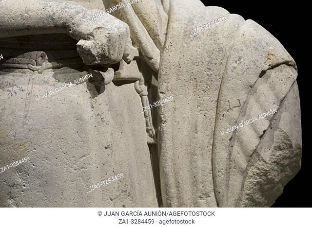 Jaen, Spain - December 29th, 2017: Hero armed with falcate sword. El Pajarillo Shrine, Huelma Jaen, 4th Century BCE. Iberian Museum of Jaen