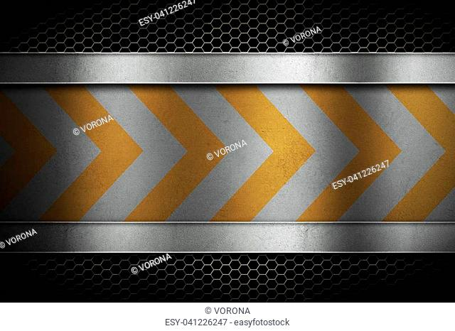 Perforated metal mesh lattice with polished metal sheet in center with yellow warning stripes. Building, construction. Banner, place for text