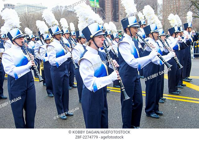 Band marching at the annual Saint Patrick's Day Parade in Chicago