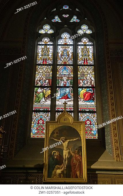 Stained glass window and crucifixion painting, St Peter and St Paul Basilica, Vysehrad Castle, Prague, Czech Republic