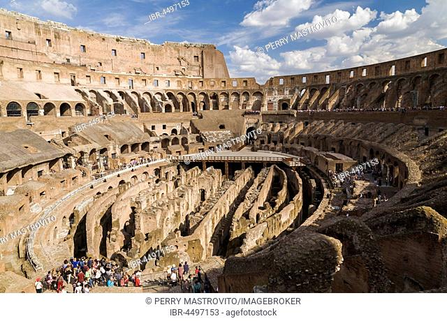 Colosseum ruins with tourists, Interior view, Rome, Italy