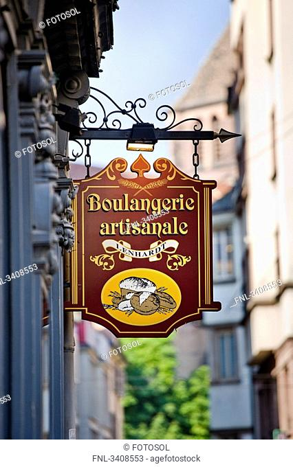 Shop sign of a bakery, Strasbourg, France, low angle view