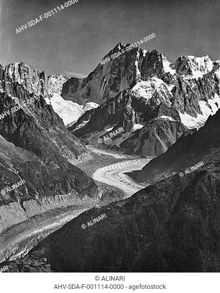 Mountain landscape with glacier, shot 1950-1960 by Stanimirovitch, Dušan