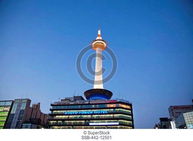 Tower in a city, Kyoto Tower, Kyoto Prefecture, Kinki Region, Honshu, Japan
