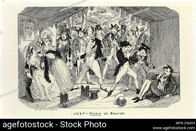 July - Down at Beulah from George Cruikshank's Steel Etchings to The Comic Almanacks: 1835-1853 - 1840, printed c. 1880 - George Cruikshank (English