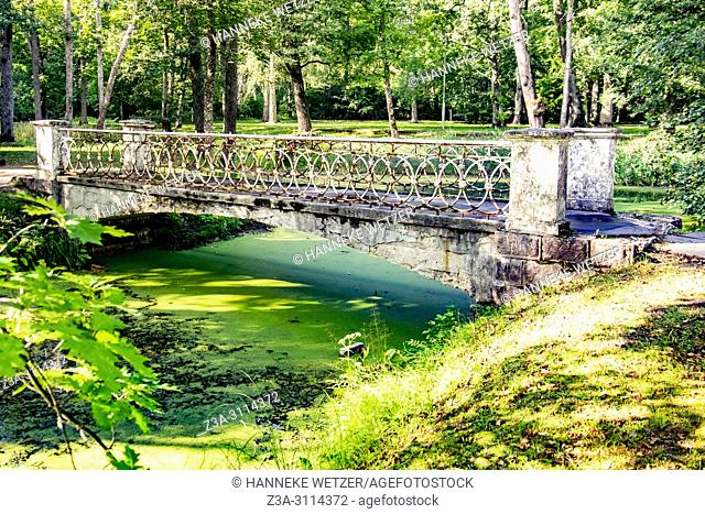 Old bridge of a damaged coffee pavilion at Kemeri National Park, Latvia, Baltic States, Europe