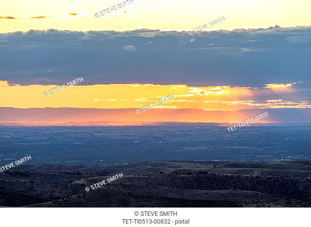 Sunset over Boise Foothills in Boise, Idaho, USA