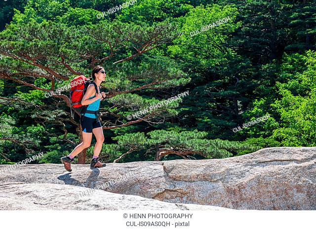 Woman hiking over a rocky ridge on the way to Mt. Ulsanbawi at Seoraksan national park, Gangwon, South Korea
