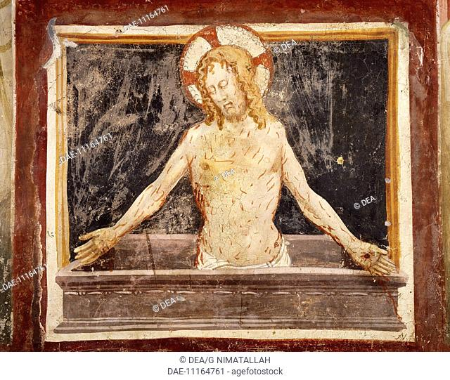 Pieta, fresco in the Lower Church of Sacro Speco Monastery, Subiaco. Italy, 12th century