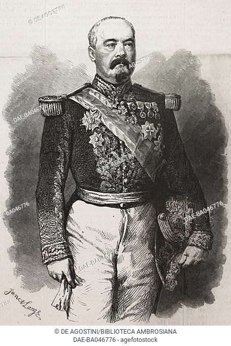 Portrait of Francois Achille Bazaine (1811-1888), French general, illustration by Janet Lange from L'Illustration, Journal Universel, No 1127, Volume XLIV