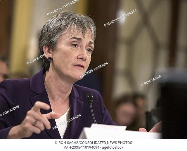 United States Secretary of the Air Force Heather Wilson gives testimony before the US Senate Committee on Armed Services Subcommittee on Readiness and...