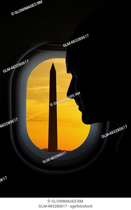 Obelisk viewed through the window of an airplane, Washington Monument, Washington DC, USA